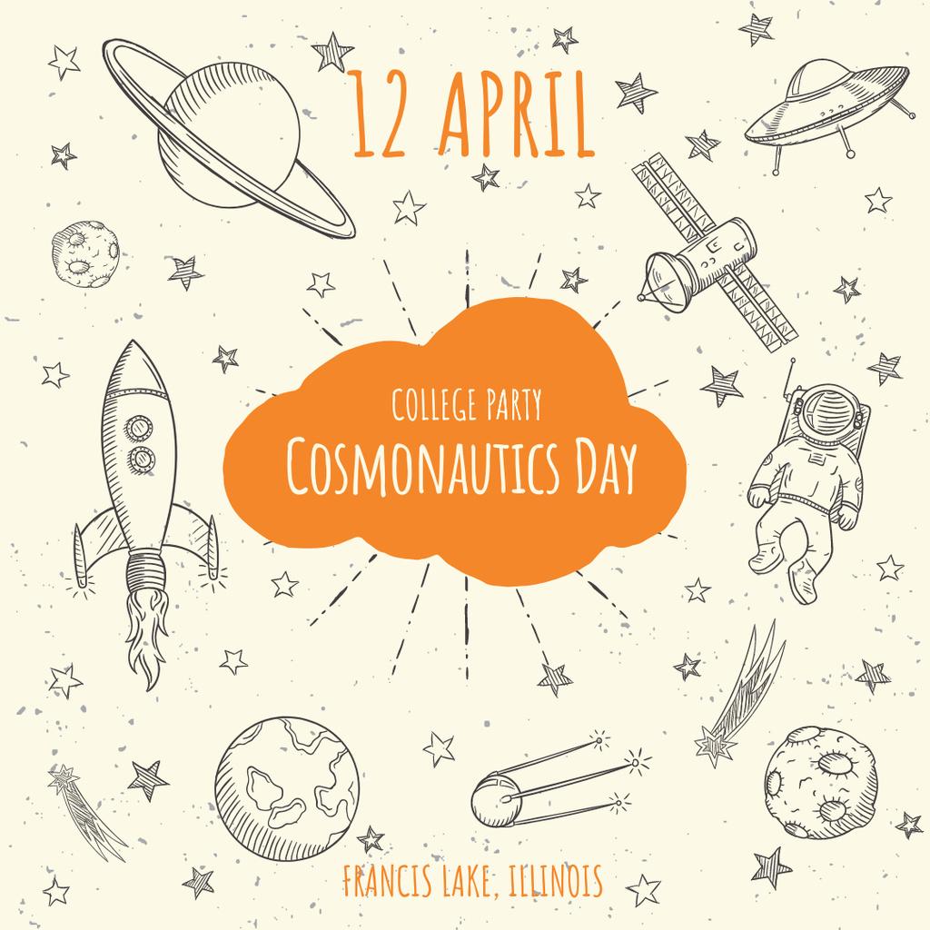 Cosmonautics day Party Announcement — Maak een ontwerp