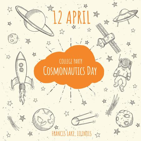 Cosmonautics day Party Announcement Instagramデザインテンプレート