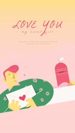 Plantilla de diseño de Happy Man sending Valentine's Day Letter Instagram Video Story