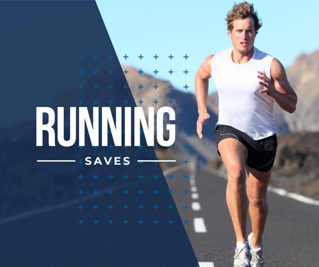 Inspirational quote with Running young man — Crea un design