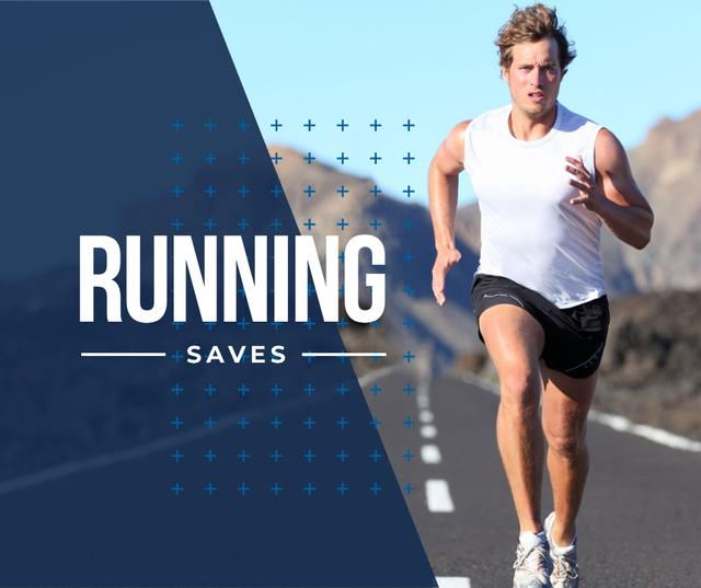 Inspirational quote with Running young man Facebook Modelo de Design