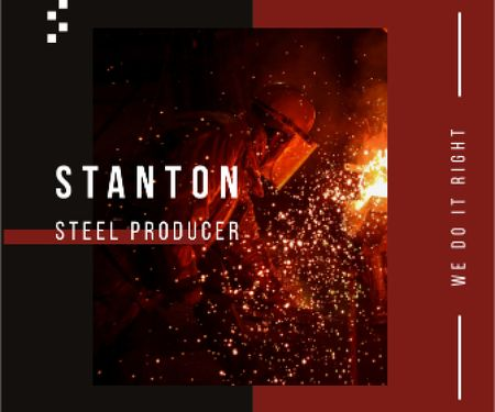 Plantilla de diseño de Steel Production Man Melting Metal Large Rectangle