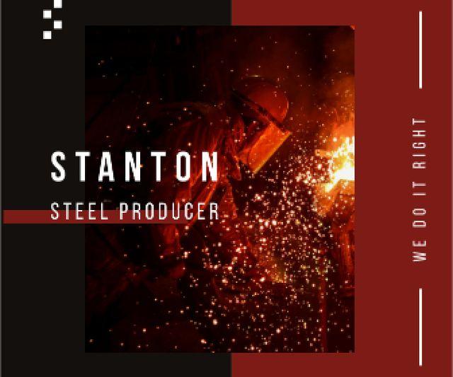 Modèle de visuel Steel Production Man Melting Metal - Large Rectangle
