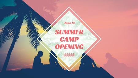 Plantilla de diseño de Summer Camp friends at sunset beach FB event cover
