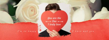 Ontwerpsjabloon van Facebook Video cover van Young Man with Heart on Valentine's Day