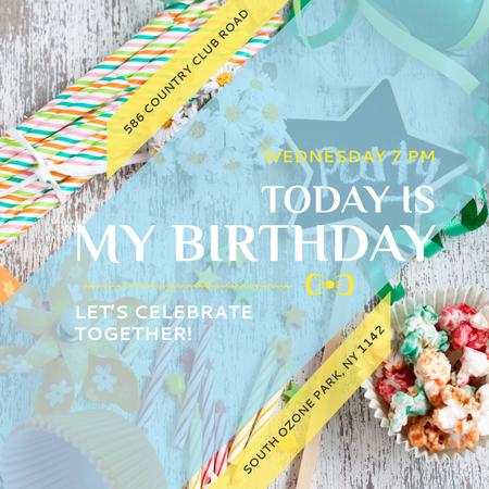 Template di design Birthday party Invitation with Candies Instagram