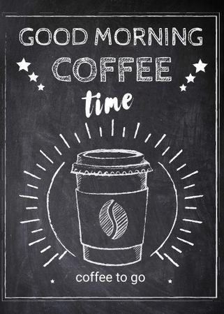 Template di design Coffee time chalk advertisement Invitation