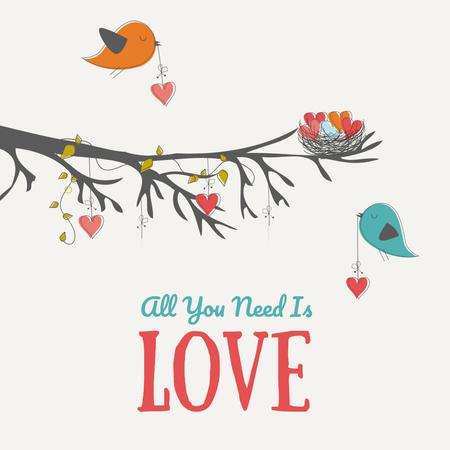 Birds Decorating Tree With Hearts Animated Post Modelo de Design