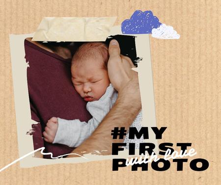 Father holding Cute Little Infant Facebook Modelo de Design