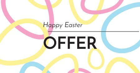Easter Offer with Eggs Abstract illustration Facebook ADデザインテンプレート