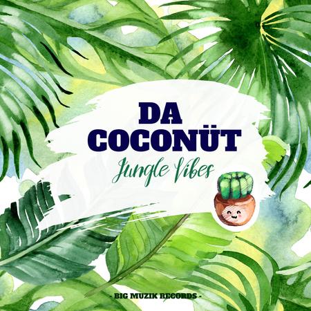 Ontwerpsjabloon van Instagram van Cute Coconut Illustration with Palm Leaves