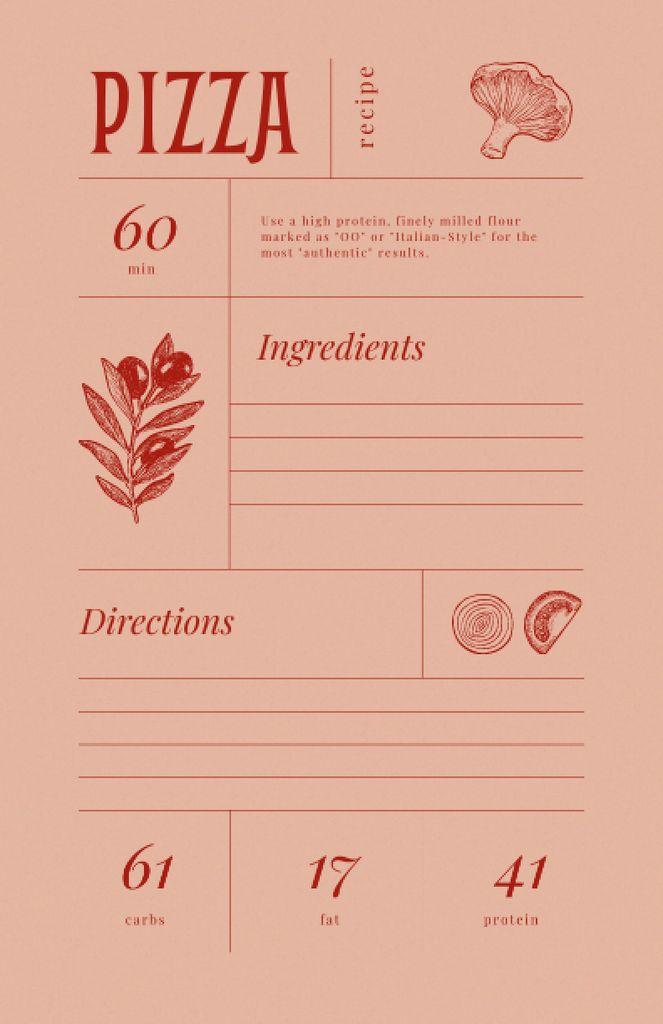 Pizza Cooking Steps with Ingredients Illustration Recipe Card – шаблон для дизайну