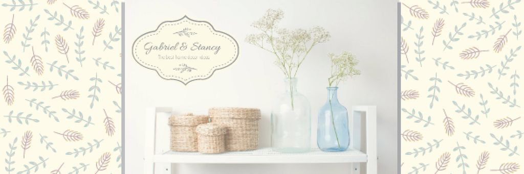 Home Decor Advertisement with Vases and Baskets Email header – шаблон для дизайна
