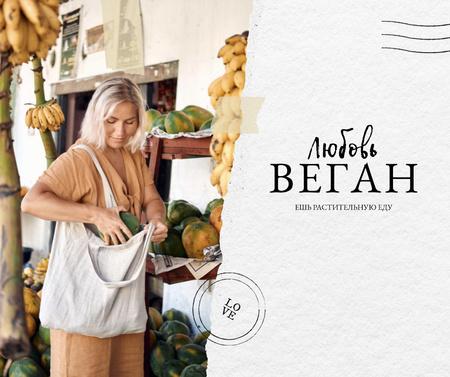 Vegan Lifestyle Concept with Woman holding Eco Bag Facebook – шаблон для дизайна