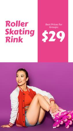 Plantilla de diseño de Rollerskating Rink Offer with Girl in Skates Instagram Story