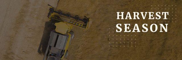 Plantilla de diseño de Agricultural Harvester Working in Field Twitter