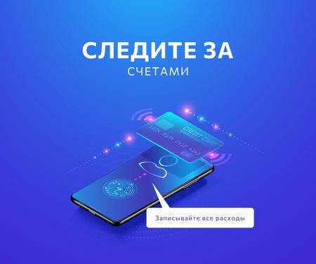 Checkbook application on Phone screen Facebook – шаблон для дизайна