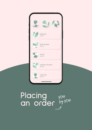 Modèle de visuel Flowers Order on Phone Screen - Poster