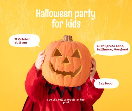 Halloween Party for Kids Announcement Facebook Design Template
