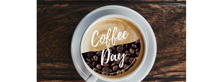 Modèle de visuel Coffee Day Announcement with Cup on Wooden Table - Facebook cover