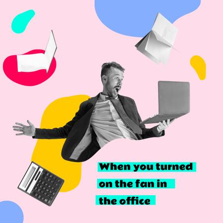 Funny Businessman with Laptop and Flying Books and Calculator Instagram Design Template
