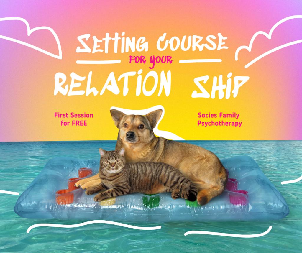Modèle de visuel Funny Cat and Dog laying together - Facebook