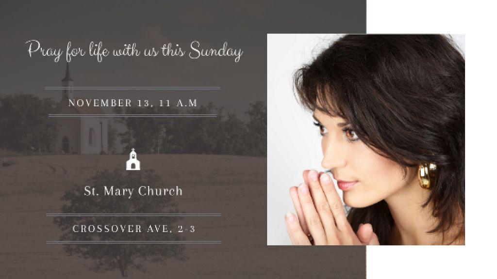 Ontwerpsjabloon van Title van Church invitation with Woman Praying