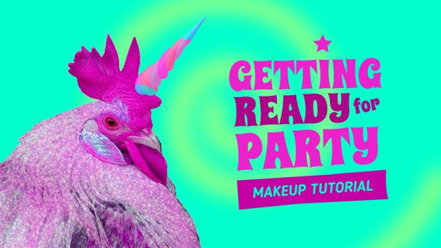 Designvorlage Beauty Blog Promotion with Funny Rooster with Unicorn Horn für Youtube Thumbnail