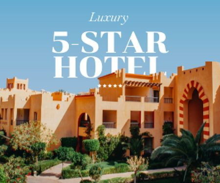 Summer Travel Offer with Luxury Hotel Medium Rectangle Design Template
