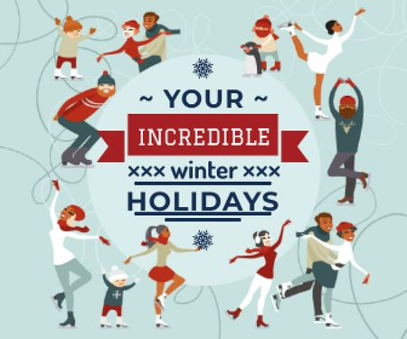 Incredible winter holidays poster Large Rectangleデザインテンプレート