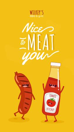 Funny Joke with Sausage and Ketchup Characters Instagram Story – шаблон для дизайна