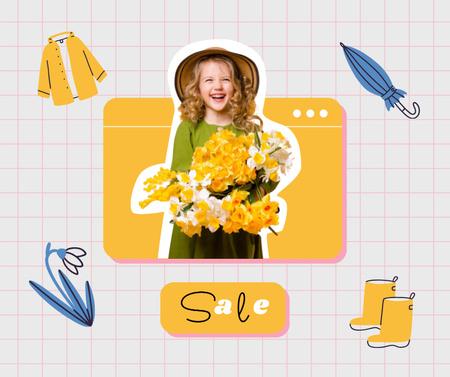 Plantilla de diseño de Kids Clothes Sale Offer with Cute little Girl Facebook