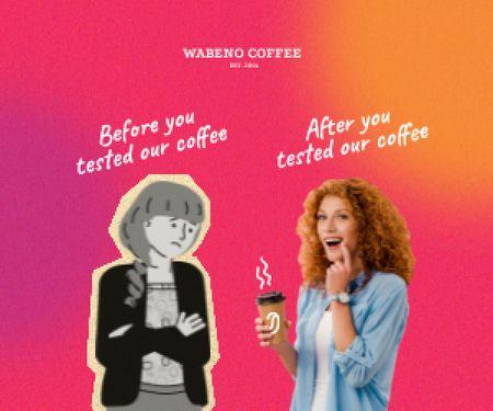 Platilla de diseño Funny Coffeeshop Promotion with Woman holding Cup Medium Rectangle