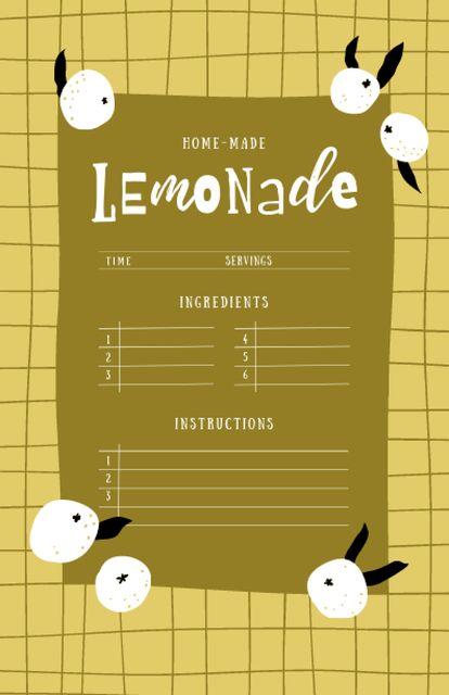 Homemade Lemonade Cooking Steps Recipe Card Modelo de Design