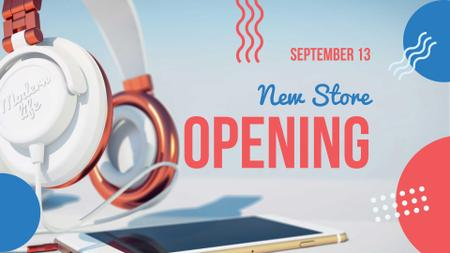 Plantilla de diseño de New Store Opening Announcement with Headphones FB event cover