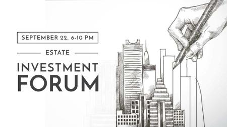Modèle de visuel Real Estate Forum with Skyscrapers illustration - FB event cover