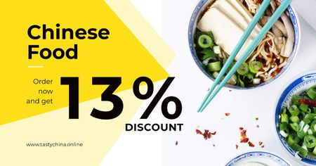 Discount for Chinese food Restaurant Facebook AD Tasarım Şablonu