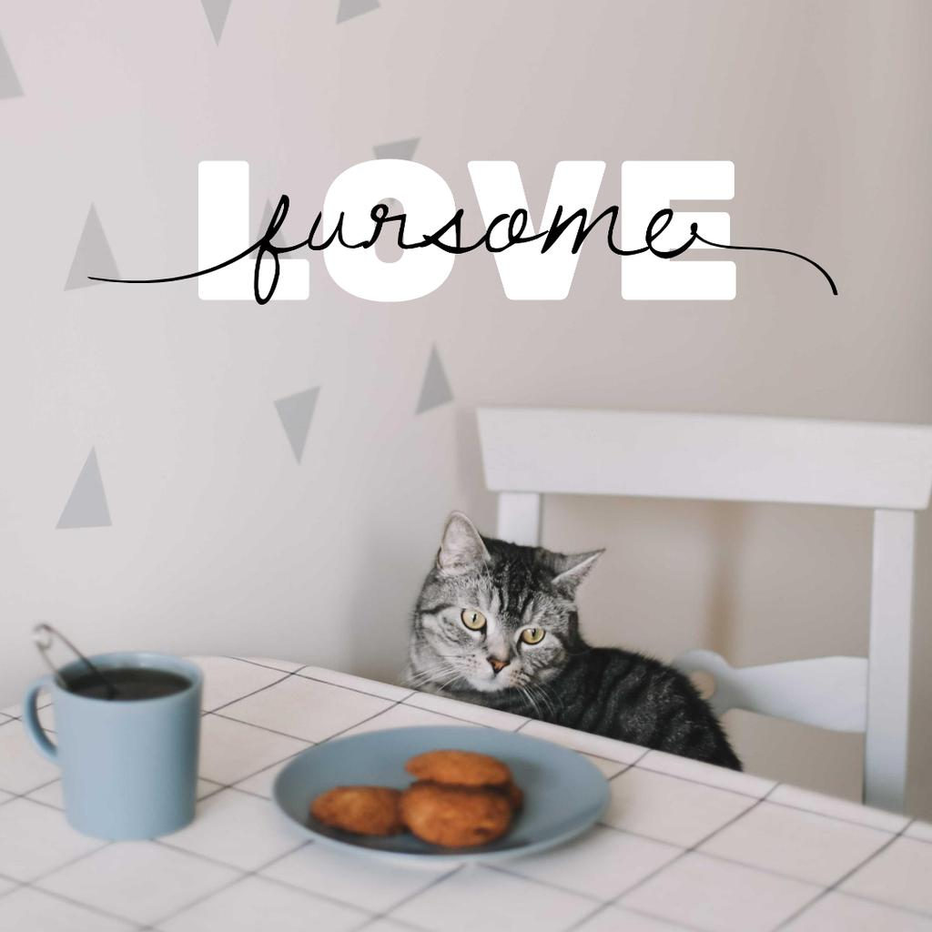 Cute Cat at Kitchen with Coffee Instagram Design Template