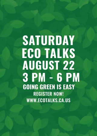 Ecological Event Announcement Green Leaves Texture Flayer – шаблон для дизайна