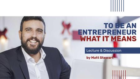 Modèle de visuel Business Event announcement smiling Man by Laptop - FB event cover