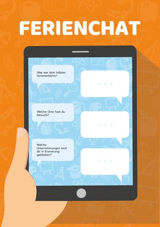 Modèle de visuel Holiday Chat on Tablet Screen - Poster
