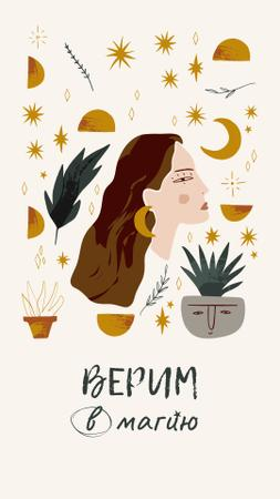 Astrological Inspiration with Woman illustration Instagram Story – шаблон для дизайна