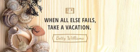 Plantilla de diseño de Travel inspiration with Shells on wooden background Facebook cover