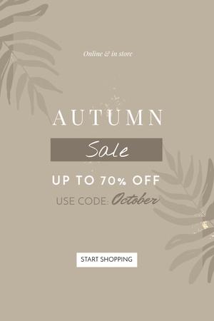 Autumn Sale announcement on Leaves Pinterest Modelo de Design
