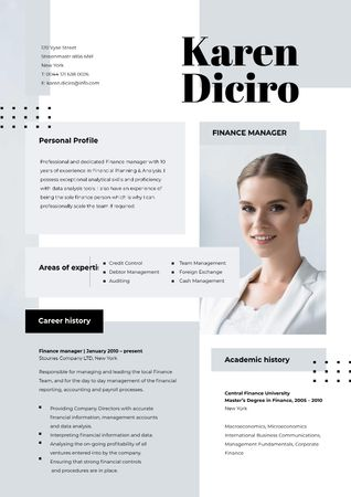 Plantilla de diseño de Finance manager skills and experience Resume