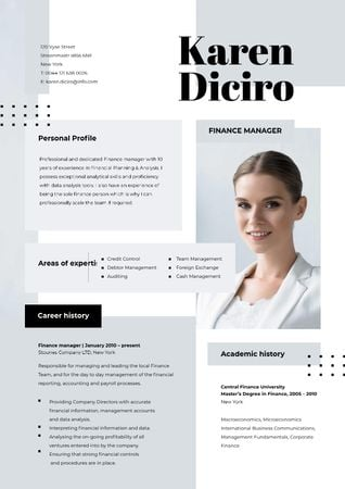 Designvorlage Finance manager skills and experience für Resume