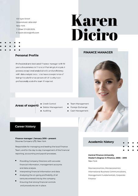 Finance manager skills and experience Resume – шаблон для дизайну