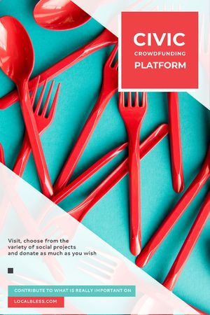 Crowdfunding Platform Red Plastic Tableware Tumblr – шаблон для дизайна