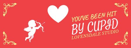 Ontwerpsjabloon van Facebook Video cover van Valentine's Card with Cupid shooting Arrow