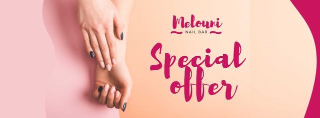 Template di design Manicure Services Offer with Tender Female Hands Facebook cover
